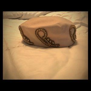 Vintage baby pink embellished pill box hat